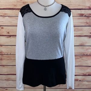 WHBM Colorblock Lace Shoulder Sweater